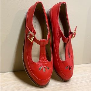 Topshop Mary Jane Red Loafers Size 38 / US 8